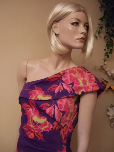 Karen Millen Tropical Print Stretch One Shoulder Dress Pink Purple